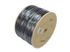 Black tying tube on wooden spools